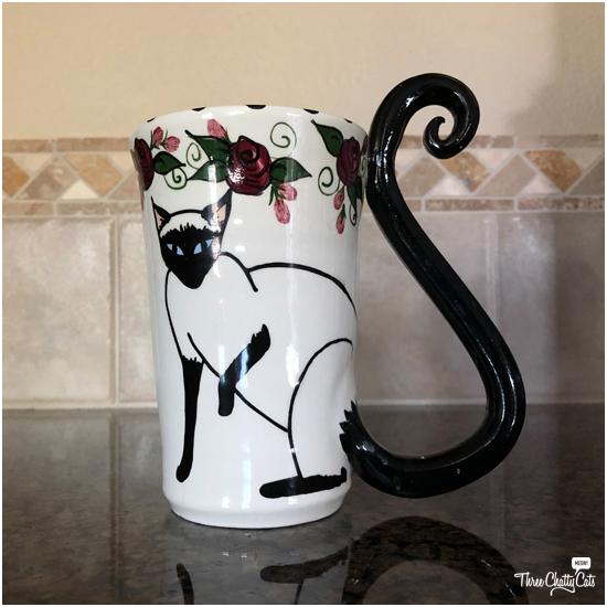handmade Siamese cat mug by April Gadler