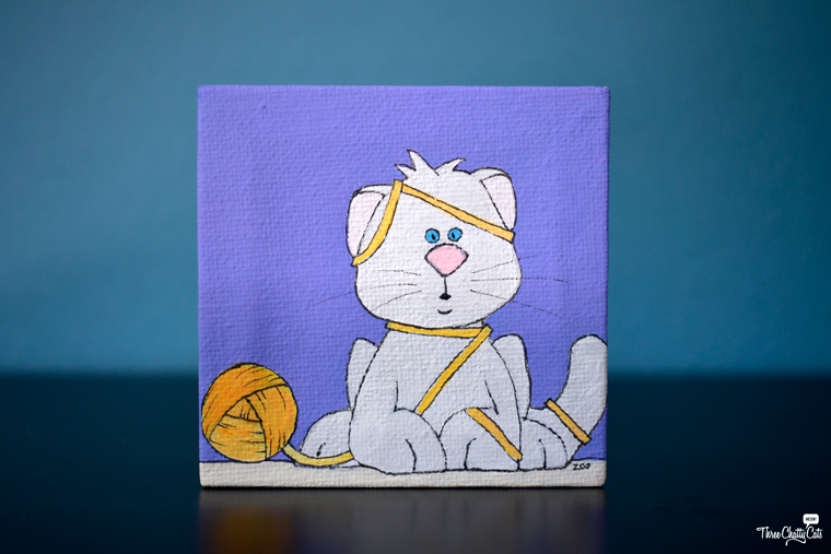 cute white cat painting