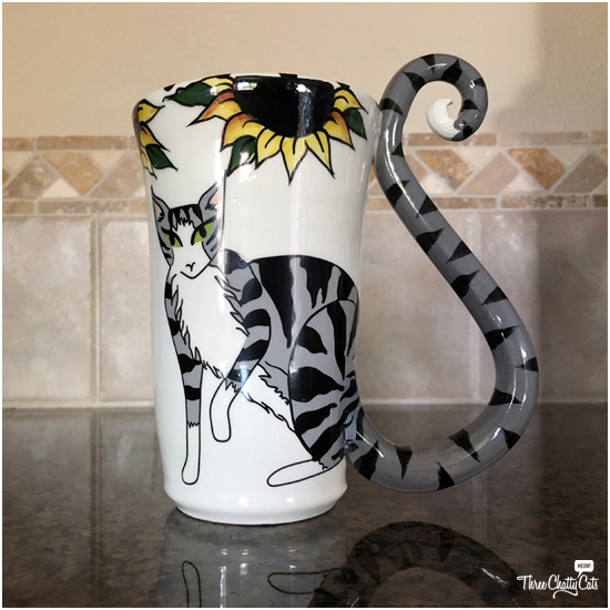 handmade tabby cat mug by April Gadler