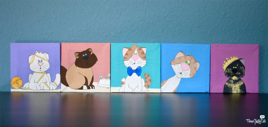 portraits of the Three Chatty Cats and the Jr. Associates