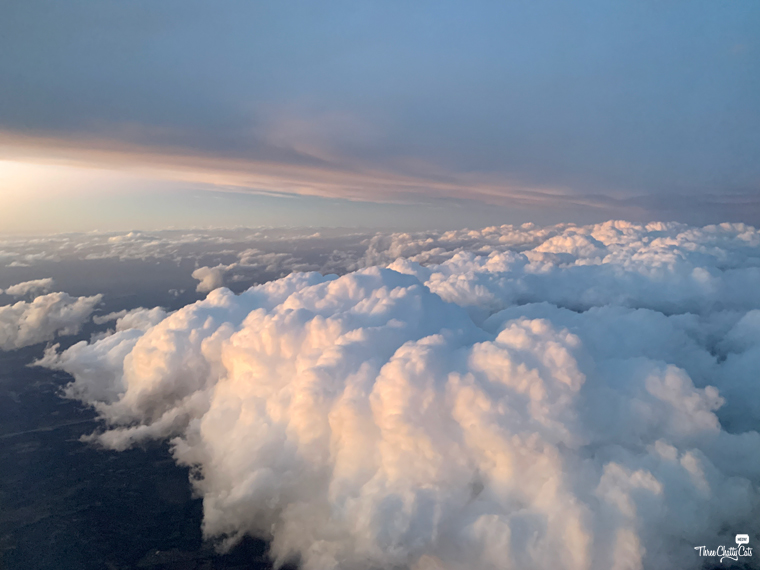 view from plane of clouds