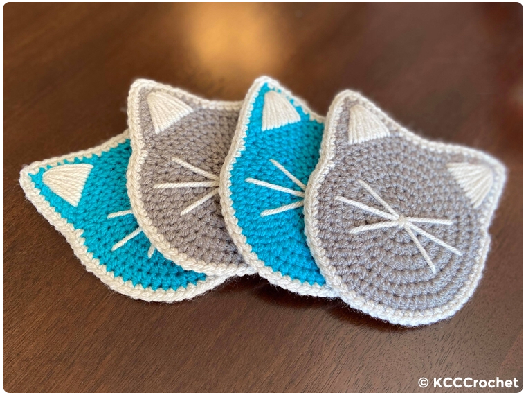 blue and gray handmade cat coasters
